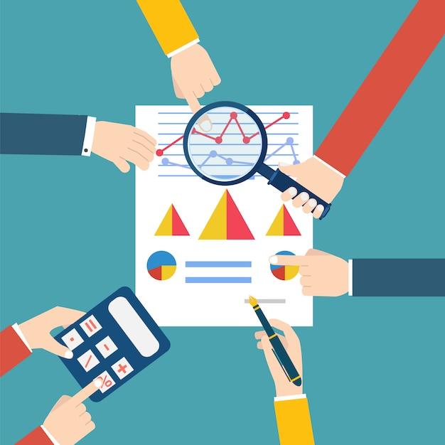Leute, die wirtschaftsstatistik überprüfen. finanzprüfer. vektor-illustration Premium Vektoren