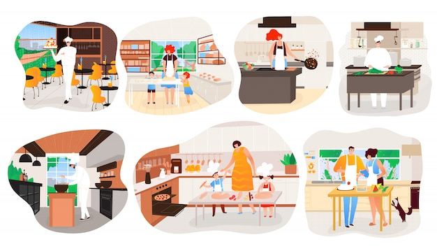 Leute, die zu hause kochen, restaurantküchen-karikaturfigur, illustration Premium Vektoren