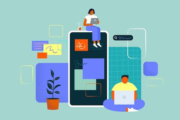 Leute, die zusammen an einer app arbeiten Premium Vektoren