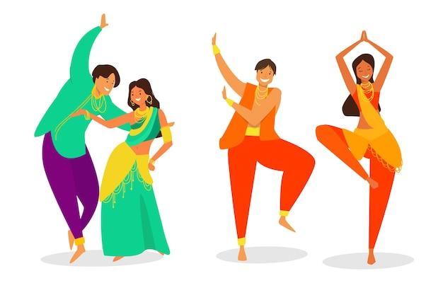 Leute, die zusammen bollywood tanzen Kostenlosen Vektoren