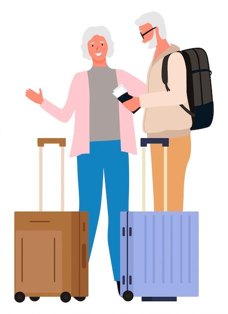 Leute, die zusammen großmutter-großvater reisen Premium Vektoren
