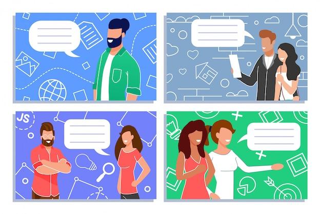 Leute-digital-kommunikation und marketing-satz Premium Vektoren
