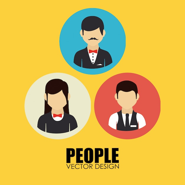 Leute entwerfen gelbe illustration Kostenlosen Vektoren
