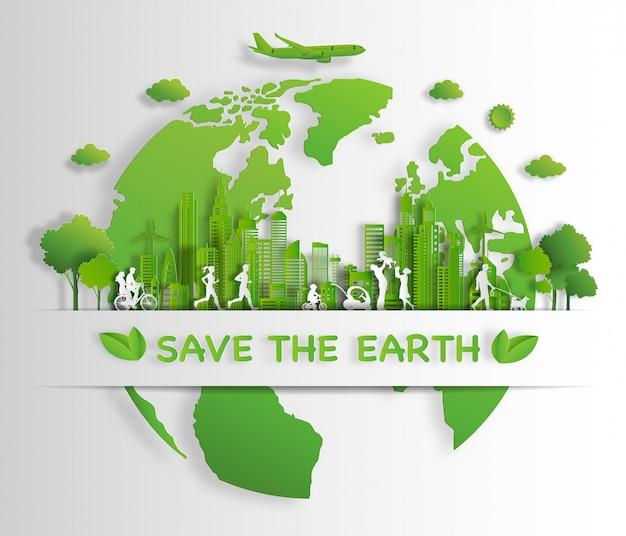 Leute genießen tätigkeiten, die mit eco grünem stadtkonzept im freien sind. Premium Vektoren