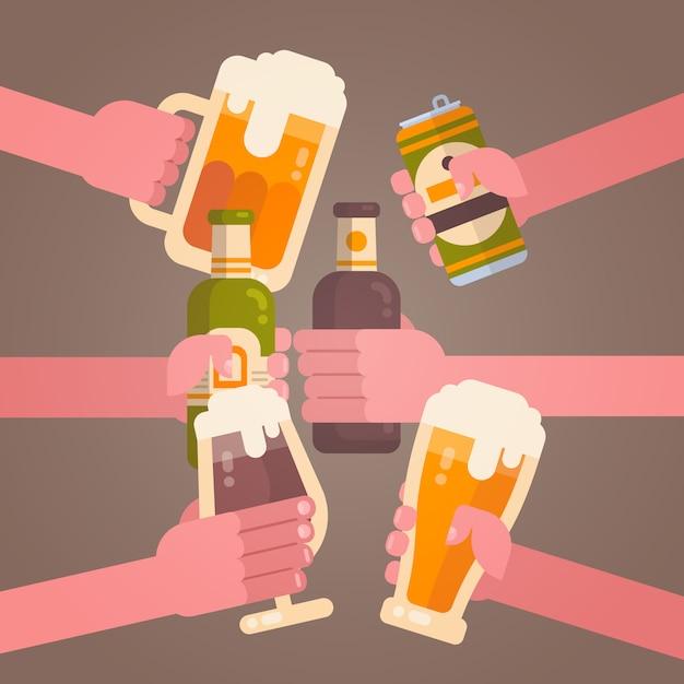 Leute-hände, die bier-zujubelndes partei-feier-festival-konzept klirren Premium Vektoren
