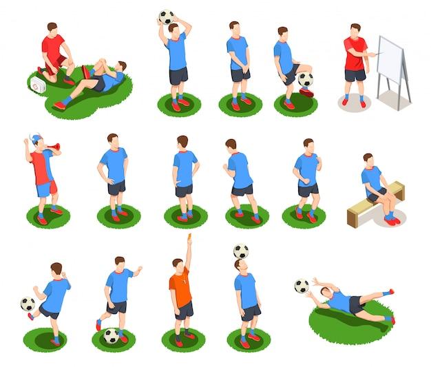Leute-ikonensammlung des fußballfußballs isometrische mit lokalisierten menschlichen charakteren von spielern in der uniform mit ball Kostenlosen Vektoren