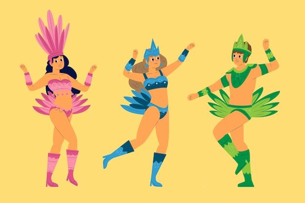 Leute im einfarbigen federzubehör, das brasilianische karnevalssammlung tanzt Kostenlosen Vektoren