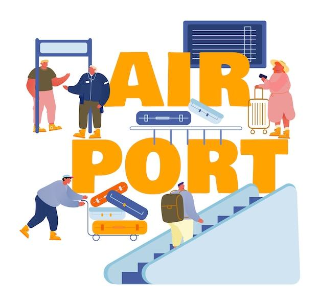 Leute im flughafenkonzept lokalisiert auf weiß Premium Vektoren
