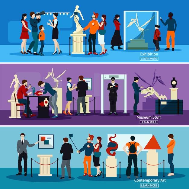 Leute im museum und in den galerie-horizontalen fahnen Kostenlosen Vektoren