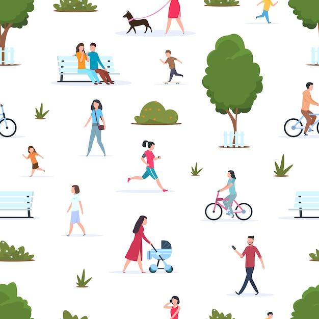 Leute im nahtlosen muster des parks. aktive menschen laufen in der natur. park der karikaturfamilie und -kinder im frühjahr Premium Vektoren