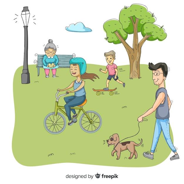 Leute im park an einem schönen sommertag Kostenlosen Vektoren