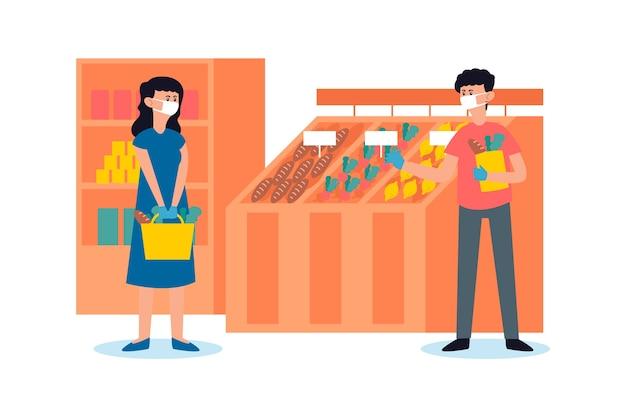 Leute im supermarkt, die masken tragen Kostenlosen Vektoren