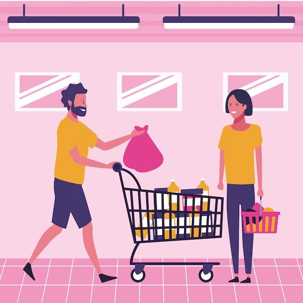 Leute im supermarkt Premium Vektoren