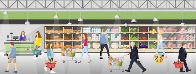 Leute im supermarktladen Premium Vektoren