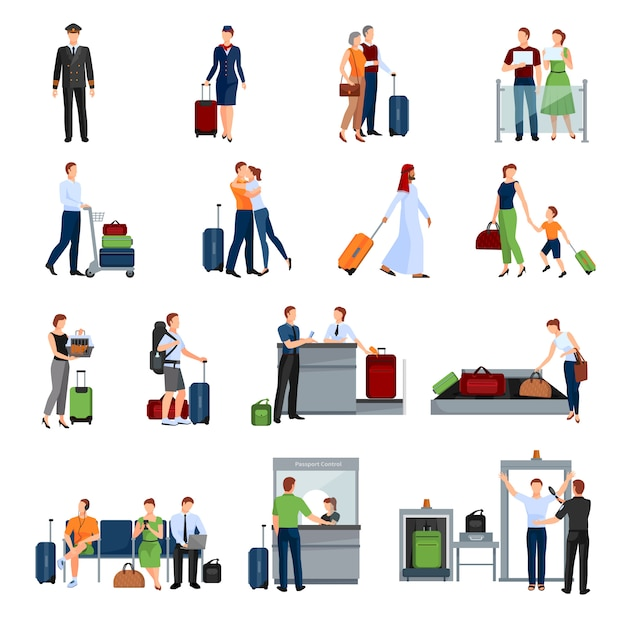 Leute in den flachen farbikonen des flughafens eingestellt Kostenlosen Vektoren