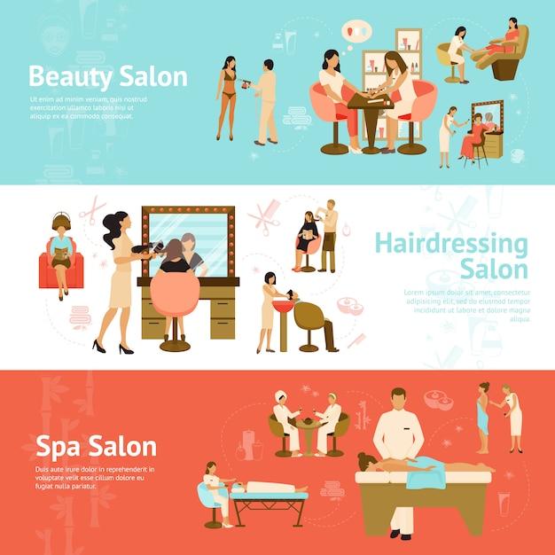 Leute in den schönheits-und badekurortsalon-horizontalen fahnen Kostenlosen Vektoren