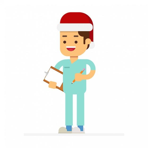 Leute in roten weihnachtsmann-hüten feiern weihnachtsfeiertage. Premium Vektoren