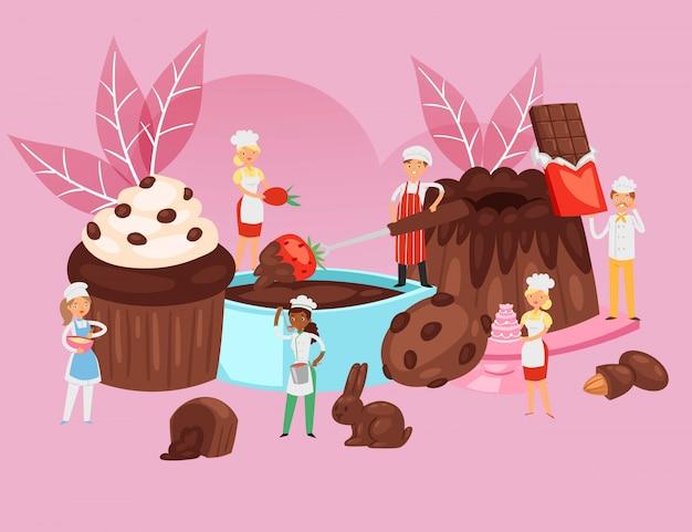 Leute kochen schokolade, nahrungsmittelrezeptzusammensetzung, professionelles bäckereibanner, dessertbacken, karikaturillustration. Premium Vektoren