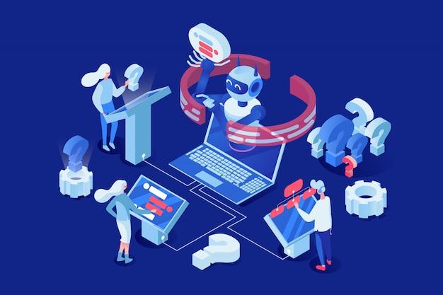 Leute, kunden, die mit zeichentrickfilm-figuren chatbot 3d plaudern. Premium Vektoren