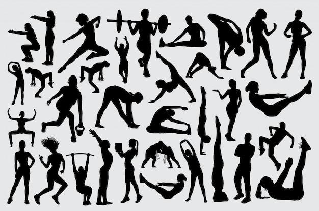 Leute männliches und weibliches training fitnes schattenbild Premium Vektoren