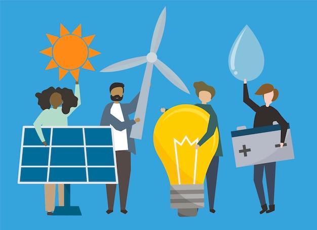 Leute mit abbildung der erneuerbaren energiequellen Kostenlosen Vektoren