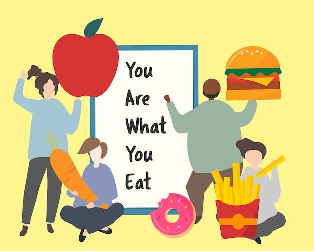 Leute mit fetter illustration des ungesunden fertigkosts Kostenlosen Vektoren