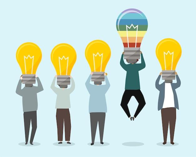 Leute mit heller ideenillustration Kostenlosen Vektoren