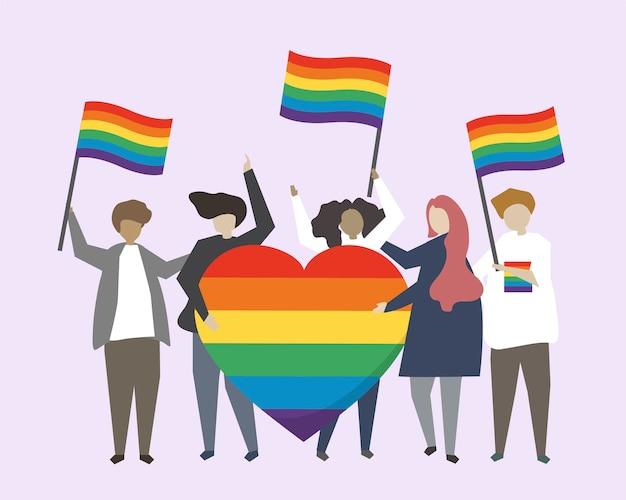 Leute mit lgbtq-regenbogenflaggenillustration Kostenlosen Vektoren