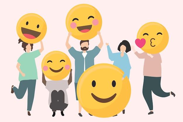 Leute mit lustiger und glücklicher emojisillustration Kostenlosen Vektoren