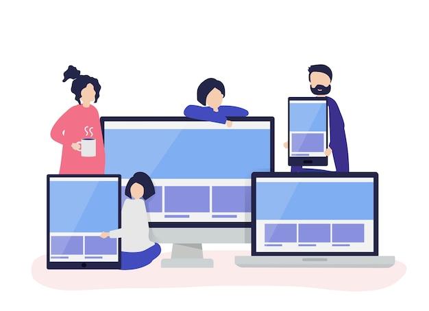 Leute mit webdesignkonzeptillustration Kostenlosen Vektoren