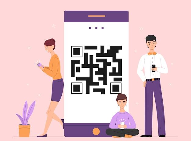 Leute on-line-smartphonechatillustration Kostenlosen Vektoren