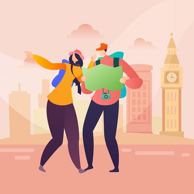 Leute-reise-charakter in london in der flachen art Premium Vektoren