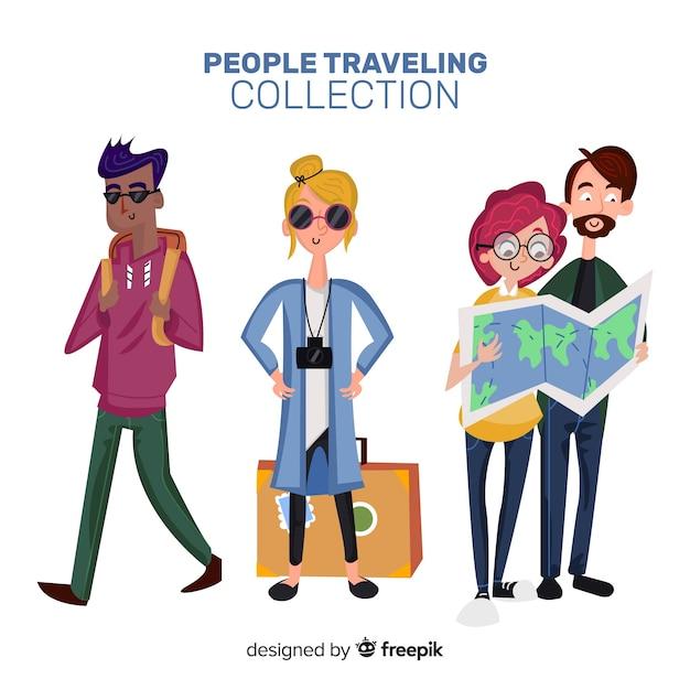 Leute reisen collectio Kostenlosen Vektoren
