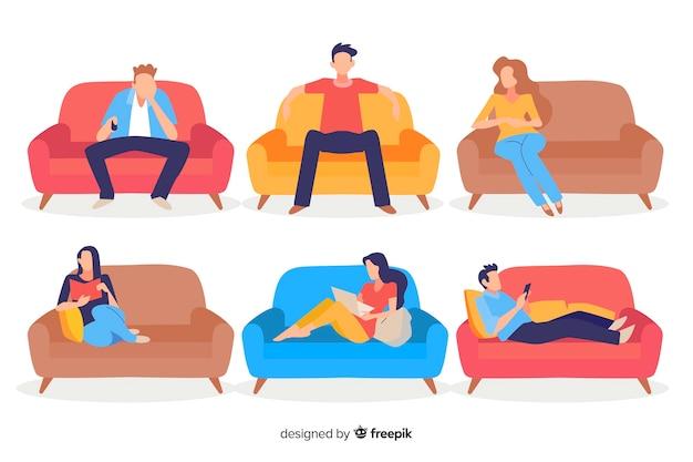 Leute sitzen auf einem sofa Kostenlosen Vektoren