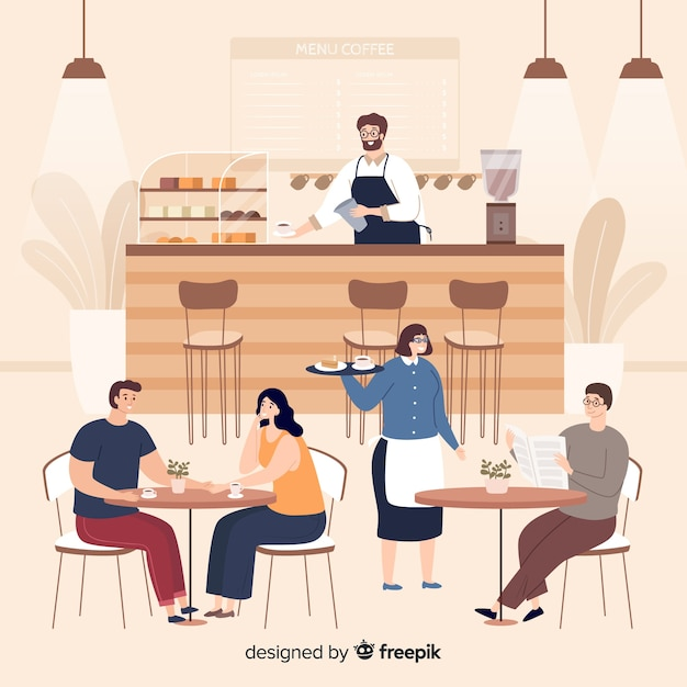 Leute sitzen im cafe Kostenlosen Vektoren