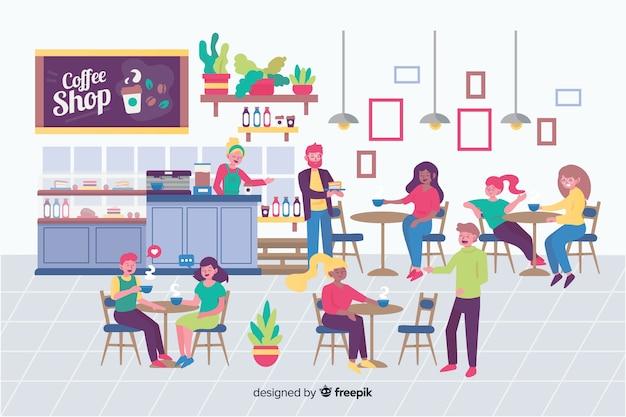 Leute sitzen im café Kostenlosen Vektoren
