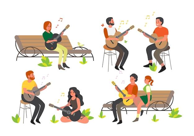 Leute sitzen und spielen akustisches gitarrenset. erwachsener charakter mit einem musikinstrument. junger perfomer, rockmusiker. Premium Vektoren