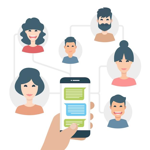 Leute sms am telefon Kostenlosen Vektoren
