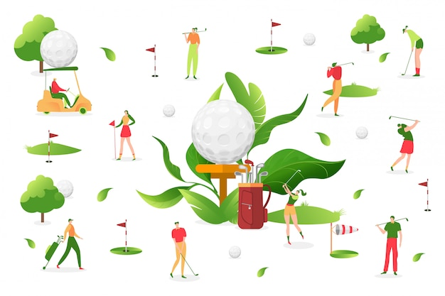 Leute spielen golf am weißen hintergrund, illustration. mann frau charakter, sport outdoor-aktivität. professioneller spieler Premium Vektoren