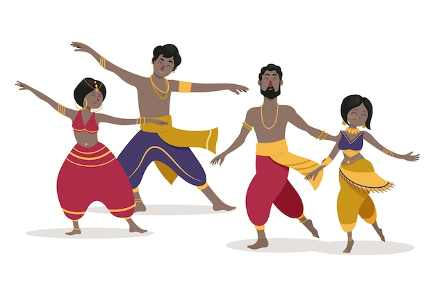 Leute tanzen bollywood-pack Kostenlosen Vektoren