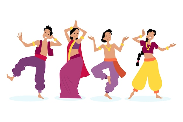 Leute tanzen bollywood-stil Kostenlosen Vektoren