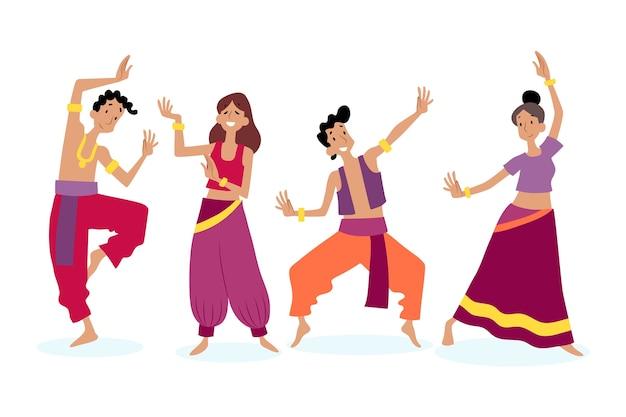 Leute tanzen bollywood-thema Kostenlosen Vektoren