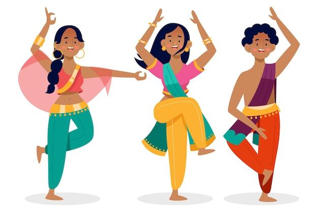 Leute tanzen bollywood Kostenlosen Vektoren