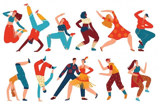 Leute tanzen vektor-illustrationssatz. Premium Vektoren