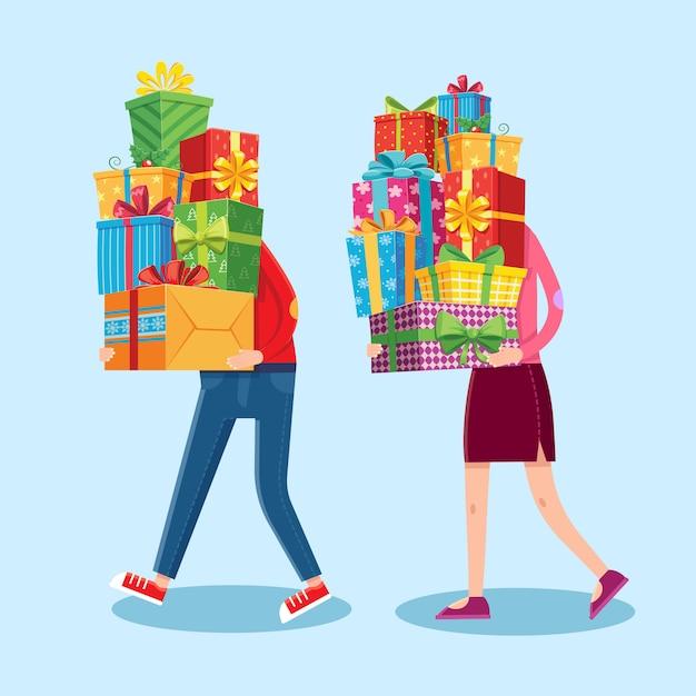 Leute tragen geschenkstapel. weihnachtsgeschenke in mann und frau hände gestapelt. cartoon-illustration Premium Vektoren