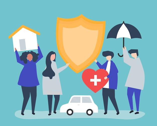Leute tragen icons im zusammenhang mit der versicherung Kostenlosen Vektoren