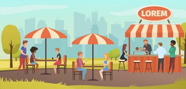 Leute trinken coffe im vektor-straßen-café im freien Premium Vektoren