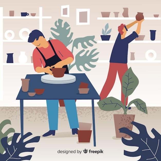 Leute zu hause, die keramik machen Kostenlosen Vektoren