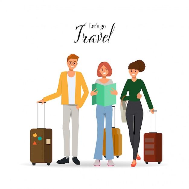 Leutecharakter, der in sommerferien mit reisetasche reist. Premium Vektoren