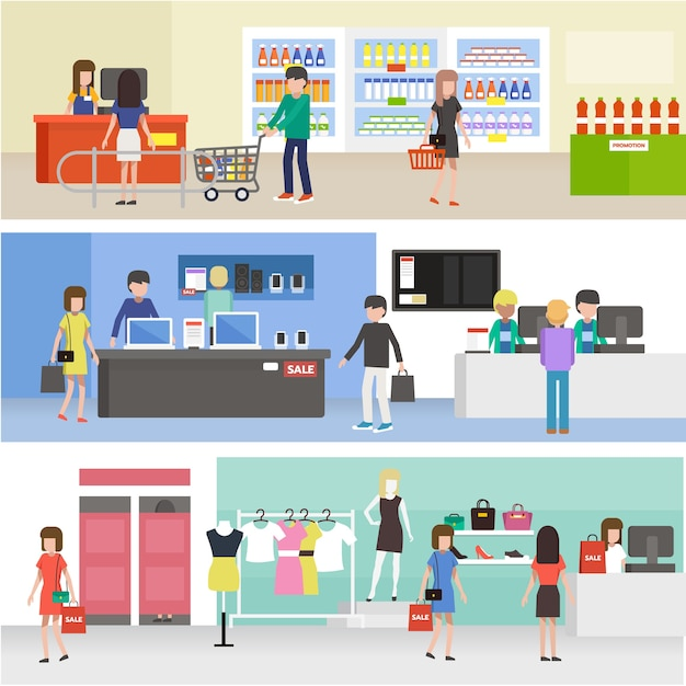 Leuteeinkaufen im supermarkt, kaufendes produkt in der kleidung, in der elektronik und im gemischtwarenladen Premium Vektoren